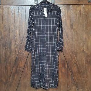 SANCTUARY Black Window Pane 3/4 Sleeve shirt Dress